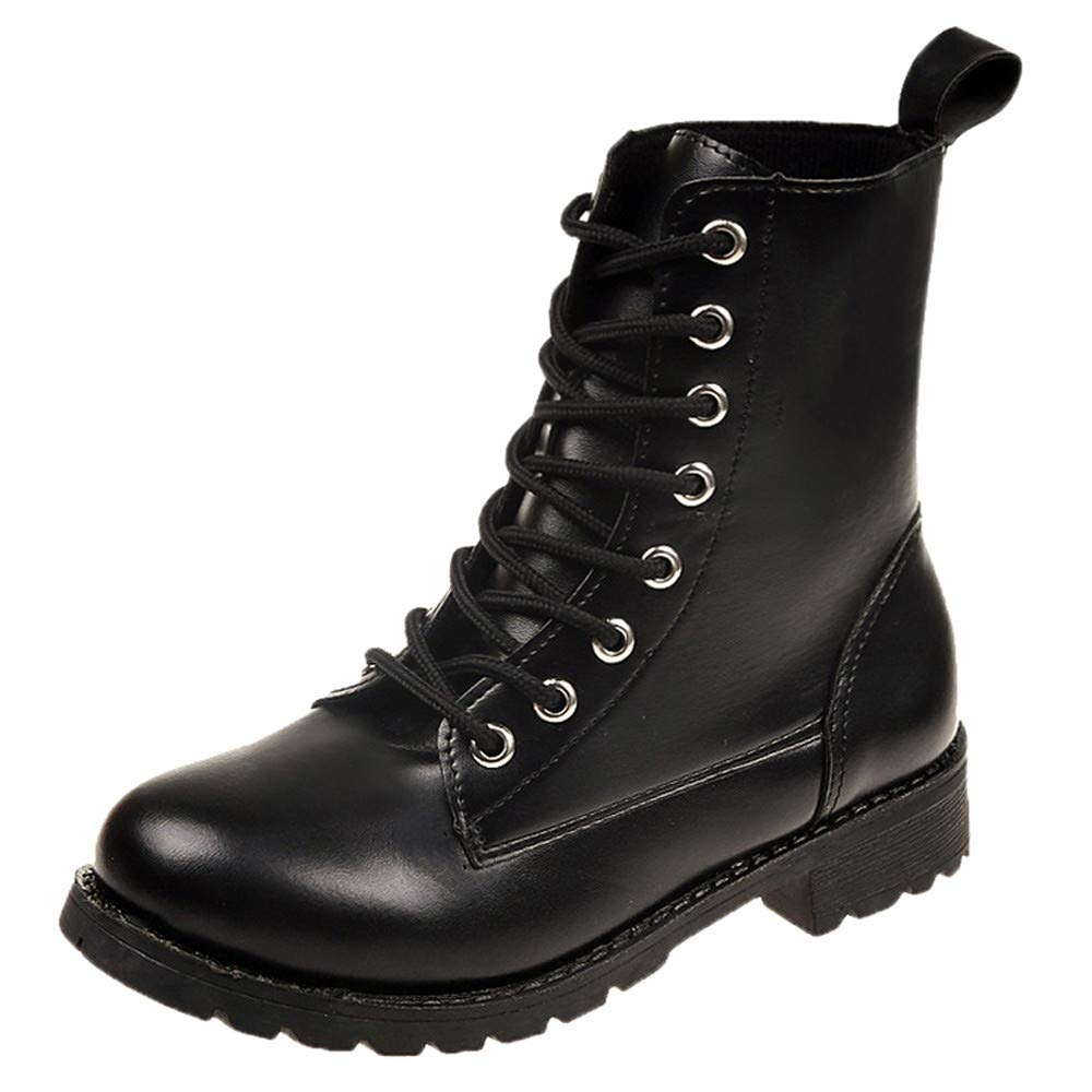 Botas Militares de Mujer Adulto, Mujer Ronda Toe Zapatos de Cuero Botas Planas Encaje Martin Botas Zapatos de Ocio