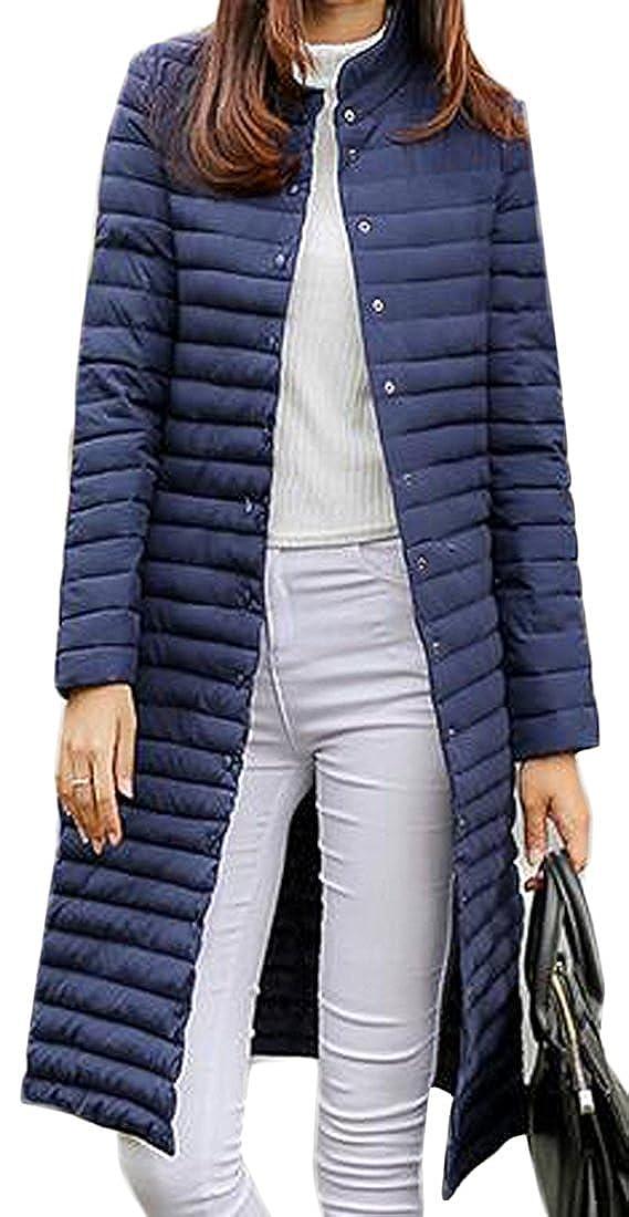 bluee FashionRun Women's Slim Long Outwear Zip Down Classic Winter Light Weight Down Jacket Coat