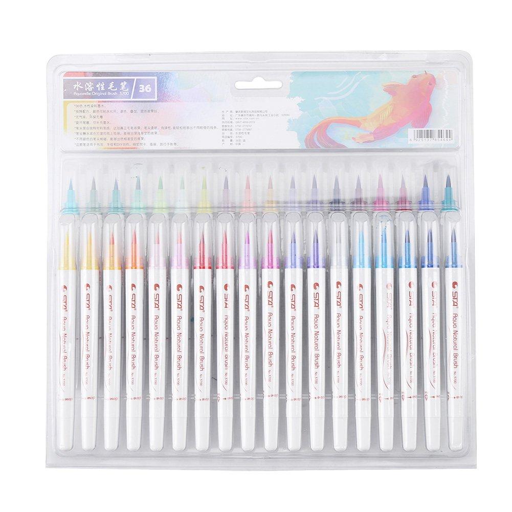 Sta Watercolor Brush Pen set colorato a pennello di morbido calligrafia pittura, perfetto per artisti, acquerello, disegnare, colorare, 12/24/36 pz opzionale 36 pcs 12/24/36pz opzionale 36 pcs Walfront