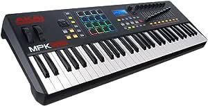 AKAI Professional MPK261 - Teclado Controlador MIDI USB de 61 Teclas Semi-contrapesadas, controles MPC asignables, 16 Pads, Q-links, botones, conectividad plug-and-play y Paquete de Software