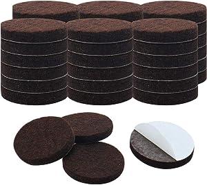 "uxcell 40pcs Furniture Pads Round 1 1/4"" Self-stick Non-slip Anti-scratch Felt Pads Floors Protector Dark Brown"