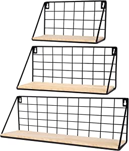 InnoGear Floating Shelves Wall Mounted Set of 3, Rustic Wood Storage Shelves for Bedroom, Bathroom, Living Room, Office, Kitchen