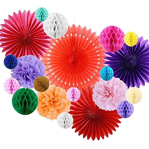 Paper Honeycomb Ball Pom Poms Flowers Paper Rosace Fan Room Wedding Anniversary Birthday Party Backdrop Decoration SUNBEAUTY 20 Pieces (Multi Color) Ornaments Flat Paper