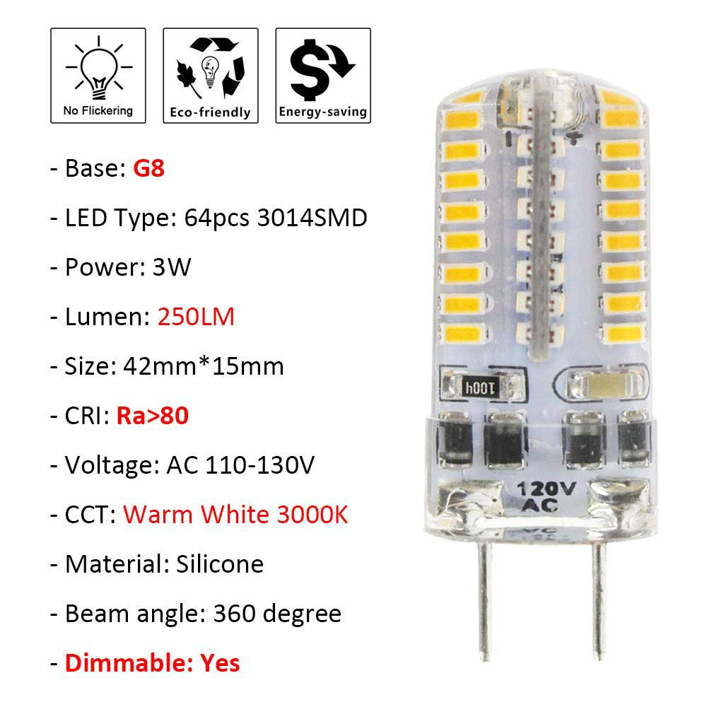 G8 LED Bulb, Attaljus G8 Bulbs 30W Halogen Equivalent, Dimmable AC 110-130V 4W Warm White 3000K, 64 X 3014 SMD Energy Saving Light Bulbs for Under Counter ...