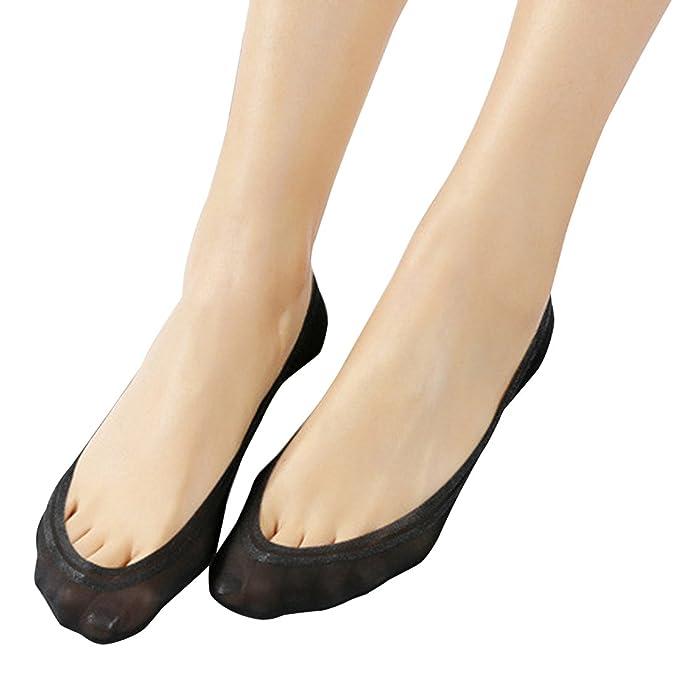 JARSEEN Damas calcetines invisibles las zapatillas de deporte de algodón de nylon con silicona antideslizante (