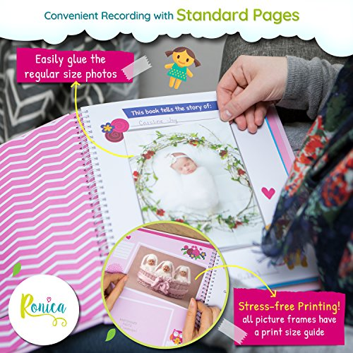 Ronica Memory Book For Baby Girl Photo Album Easy To Use Keepsake