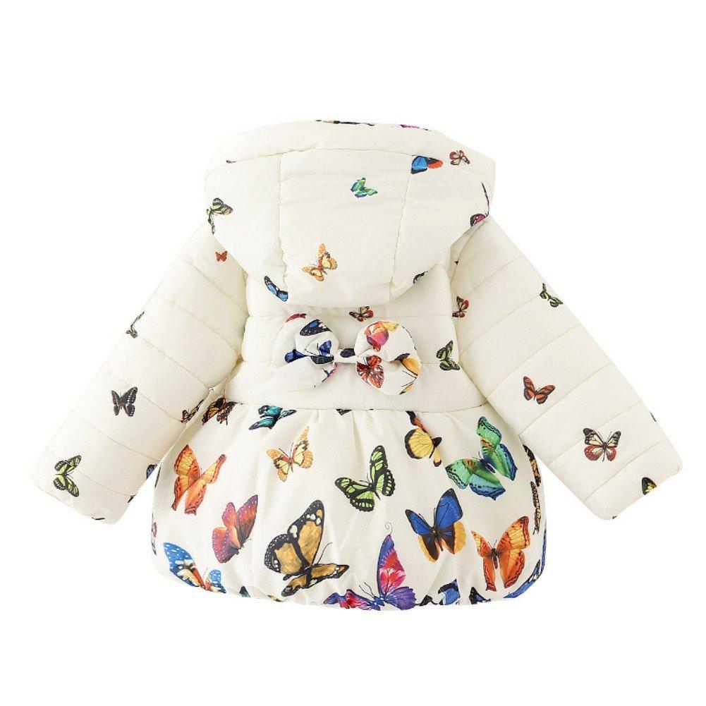 ESHOO Baby Girls Butterfly Print Cotton Coat Parka Down Jacket Snowsuit Winter Outerwear