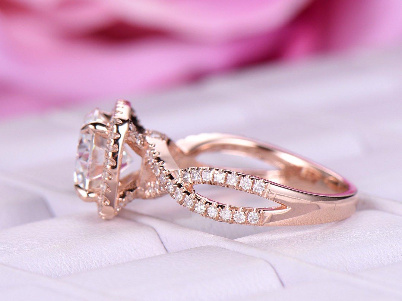 Amazon.com: Round FB Moissanite Engagement Ring Pave Diamond ...