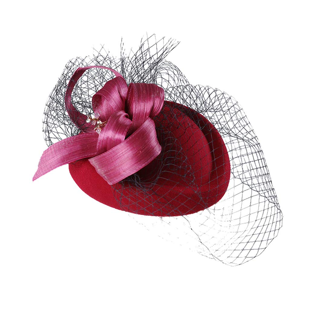 KRASTAL Women Wedding Hat Wool Pillbox Hat Lady Dress Banquet Party Hats Red