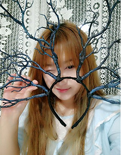 Forest Fairy Christmas Carnival Halloween Cosplay Fancy dress party Decor Antlers Hair band Headdress Dark Blue Tree Branch,Four Forked]()