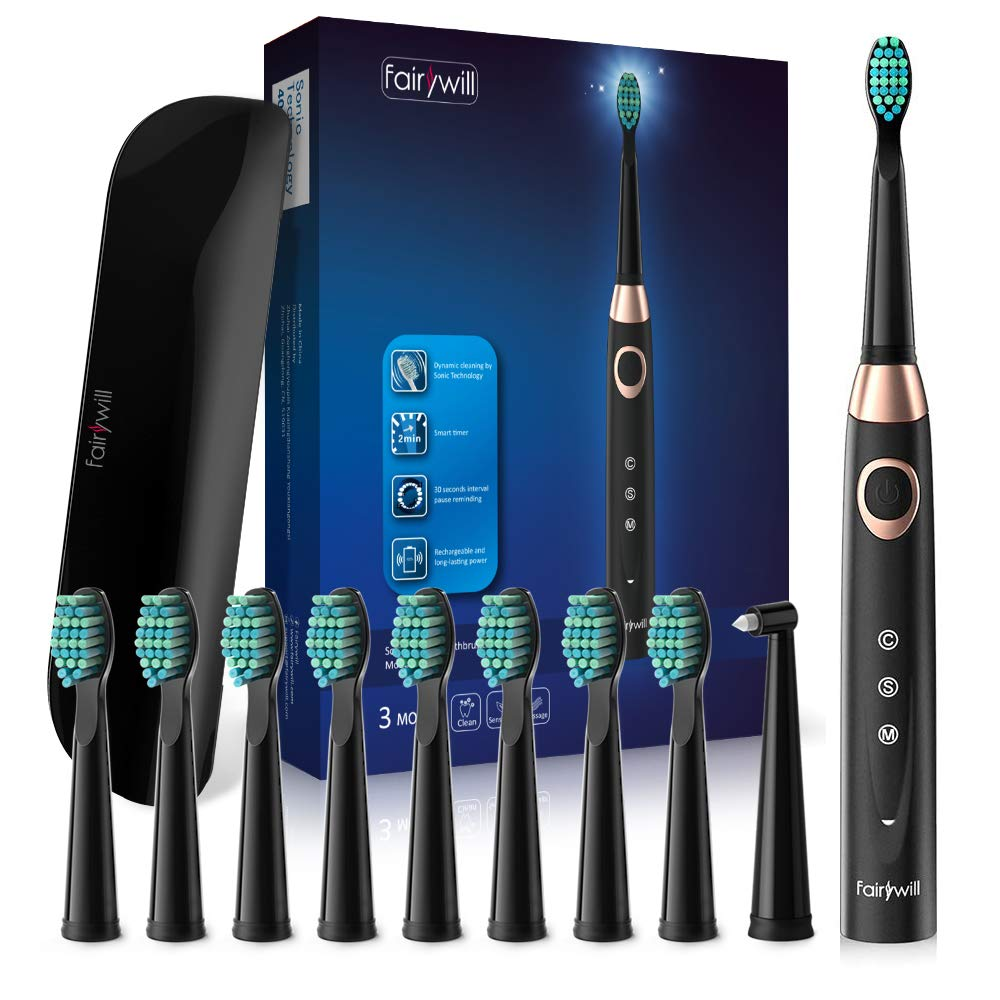Sonic Electric Toothbrush - Electric Travel Toothbrush 10 DuPont Brush Heads Portable USB Rechargeable Teeth Whitening Toothbrushes for Adults and Teens Travel Case Included Black by Fairywill