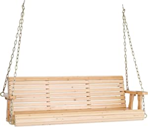 VINGLI Upgraded Wooden Patio Porch Swing for Courtyard & Garden, Heavy Duty 880 LBS Swing Chair Bench with Hanging Chains for Outdoors (5 FT, Natural)