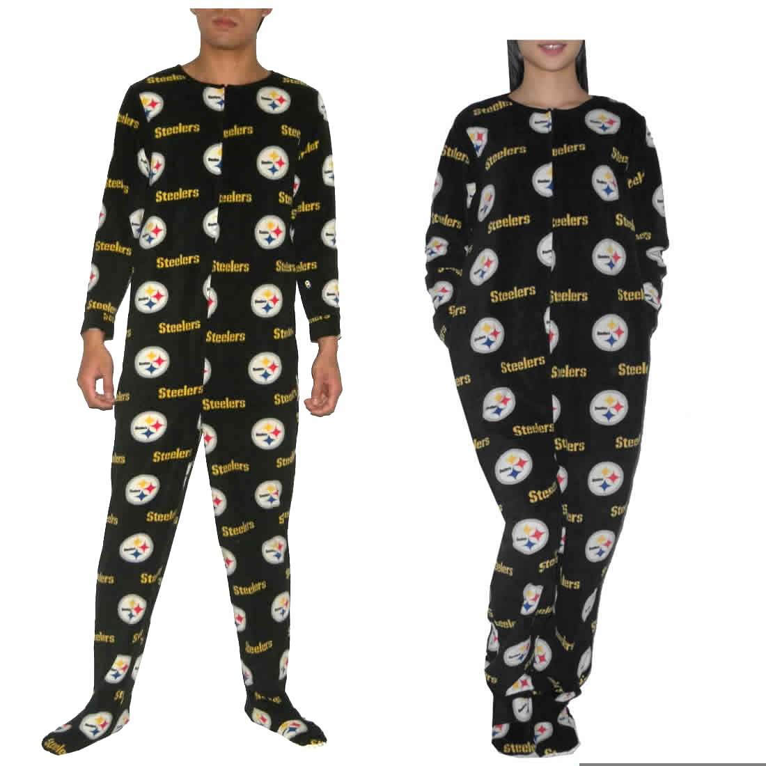 NFL Pittsburgh Steelers Adult Fall   Winter Polar Fleece One-Piece Footed  Pajamas   Romper Jumpsuit (Size  L)  Amazon.co.uk  Clothing 37506b7f9