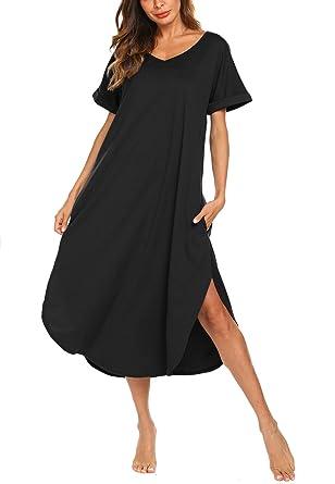 ebbe3b5c8 AVIIER Full Length Sleepweer Women s Soft Knit Night Gowns Loungewear (Black