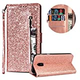 Luxury Glitter Bling Zipper Wallet Phone Case for Samsung Galaxy J7 2018, MOIKY Bookstyle PU Leather Flip Folio Magnetic Purse Pockets Credit Card Holder Wrist Strap Case Cover for Samsung Galaxy J7 2018 - Rose Gold