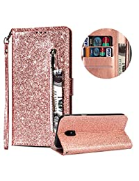 Luxury Glitter Bling Zipper Wallet Phone Case for Samsung Galaxy J3 2018, MOIKY Bookstyle PU Leather Flip Folio Magnetic Purse Pockets Credit Card Holder Wrist Strap Case Cover for Samsung Galaxy J3 2018 - Rose Gold