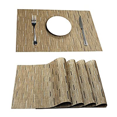 "Pauwer Placemats Set of 6 Crossweave Woven Vinyl Placemat for Kitchen Table Heat Resistant Non-Slip Kitchen Table Mats Easy to Clean (6, Khaki) - Eco-Friendly Kitchen Accessories,Stylish Crossweave Pattern With high quality and environmentally PVC materials Very durable,Non-fading. PACKAGE: included placemats set of 6; Size in :18"" x 12"" (45CM X 30CM),All placemats are cut by hand and maybe one or two inches error. Protect your table from scratches and stains ,liquid can go through placemats ,clean it when finished.Perfect additon to your dinner table,beautiful stylish placemats to addmore fun to your kitchen table. - placemats, kitchen-dining-room-table-linens, kitchen-dining-room - 61LSSlBIgaL. SS400  -"