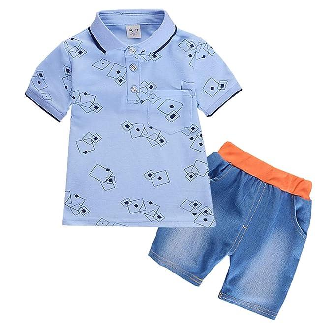 ALLAIBB Bebé del niño Gentleman Polo tee Pantalones Cortos 2 ...