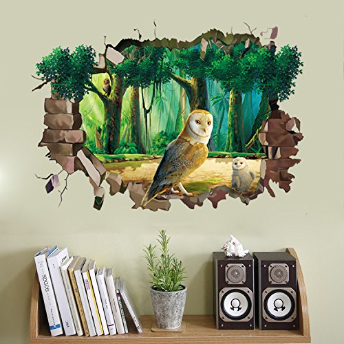 ChezMax 3D Owl Wall Art Sticker Removable Wall Decal for Home Decoration