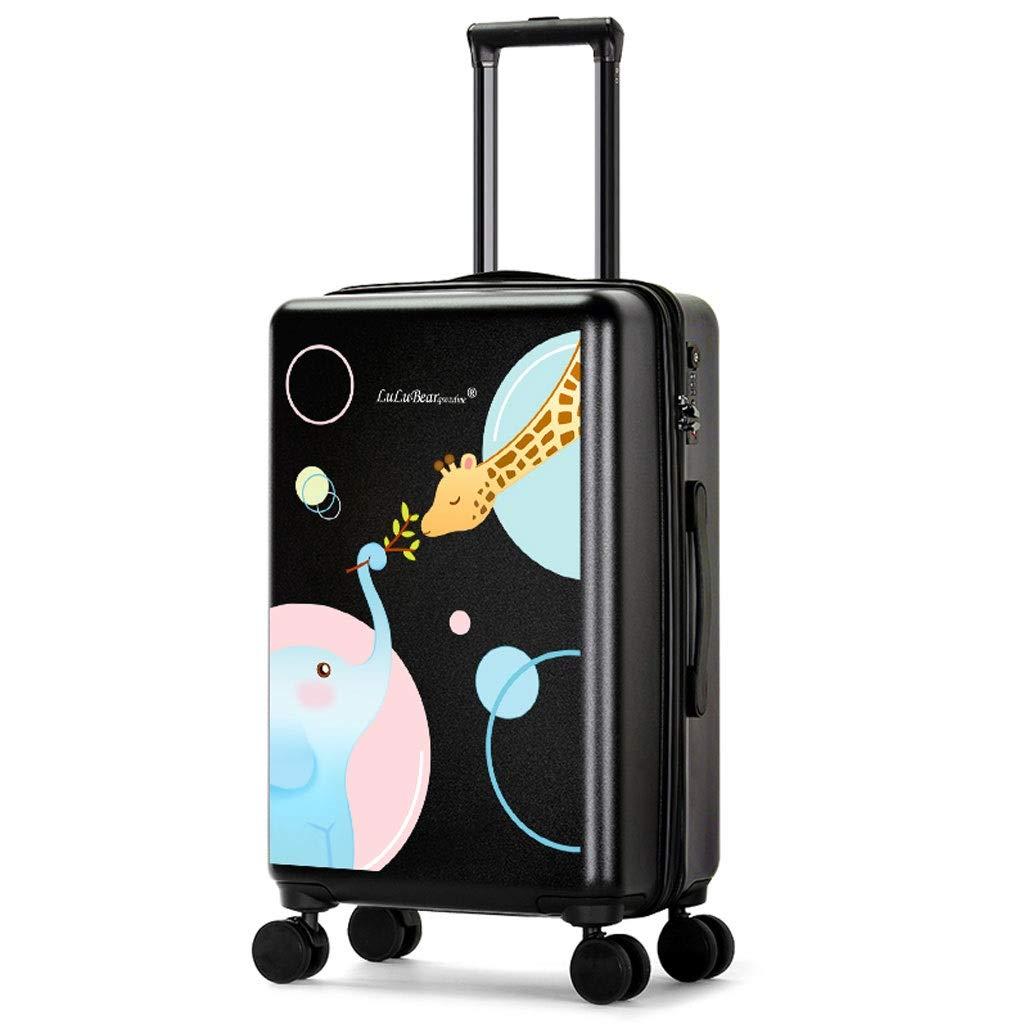 トロリーケース- 漫画トロリー箱搭乗学生18/20インチ、ユニバーサルホイール大容量スーツケース荷物24インチ (Color : Black B, Size : 20in) B07VHRDGN6 Black B 20in