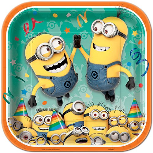 Square Despicable Me Minions Dinner Plates, 8ct -