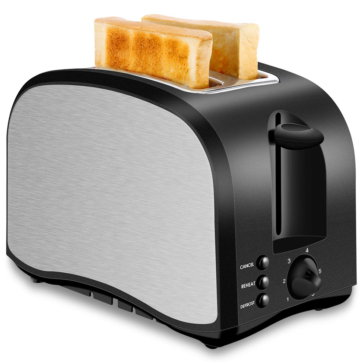 Toaster 2 Slice, CUSINAID Toasters with 2 Extra-Wide Slots, 2 Slot Toasters, Top Rated Best Prime, Stainless Steel with Pop Up Reheat Function Black