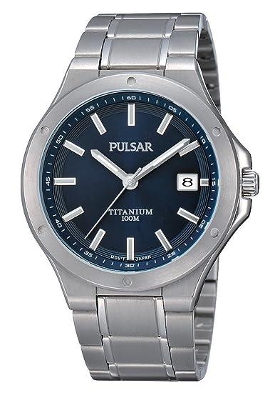 Pulsar Uhren PS9123X1 - Reloj analógico de Cuarzo para Hombre con Correa de Titanio, Color Plateado: Amazon.es: Relojes