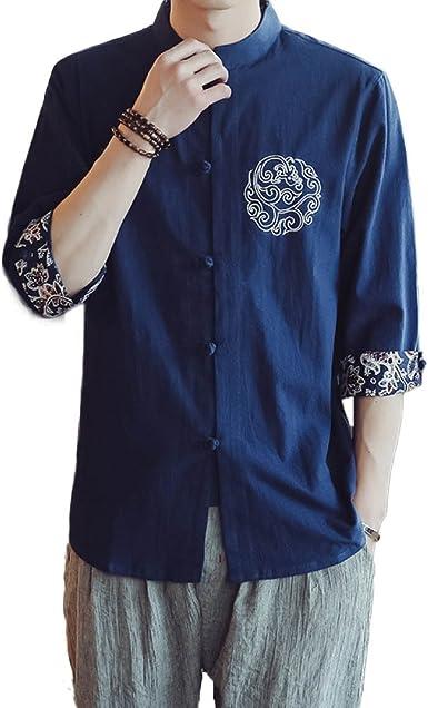 GHGJU Camisas para Hombres Algodón Material Camisa Sin Mangas con Cuello Bordado Chino Sin Mangas: Amazon.es: Ropa y accesorios