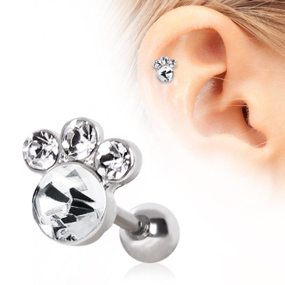 Gemmed Animal Paw Cartilage Earring 316L Surgical Steel