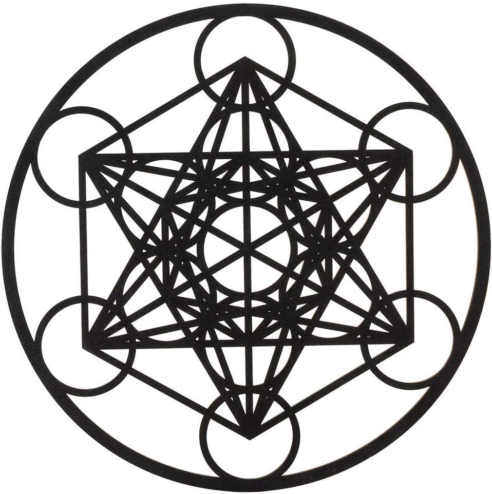 "11.5"" Metatron's Cube Crystal Grid – Sacred Geometry Wall Art & Home Decor – Wooden Wall Sculpture, Meditation & Energy Balance – Poplar Wood – For Home, Office, Yoga Studio (Black, 11.5 Inch)"