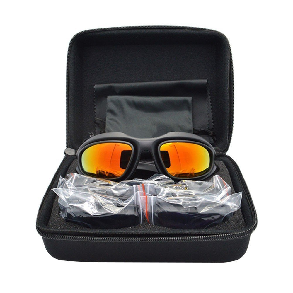 UIM-Shop Polarized Field Motorbike Driving Riding Ski Goggles Glasses -Padded Motorcycle Mirrors Set Black Frame with 4 pair of Lenses by UIM-Shop (Image #6)