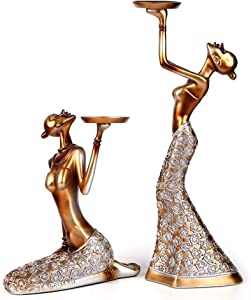 Statues Figurines And Sculptures For Home Decor, Modern Abstract Art Vintage African Women Candle Holders Decorative Artwork Indoor Ornaments For Living Room Bedroom Office Table,Gold