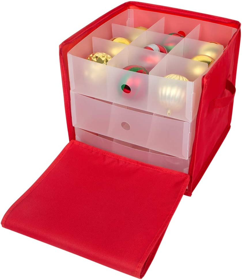Adjustable Dividers Red Attractive Storage Box Zippered Closure Bin with Two Handles Simplify Stackable Christmas Stores up to 27 Jumbo Holiday Ornaments Count