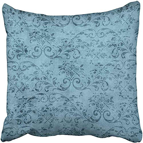 Jacobean Vine - Starosa Throw Pillow Covers 18 x 18 Inches Pretty Vintage Blue Floral Pattern Jacobean Vine Aged Flower Grungy Old Shabby Pillow Case Decorative Cushion Cover Two Sides Print Pillowcase