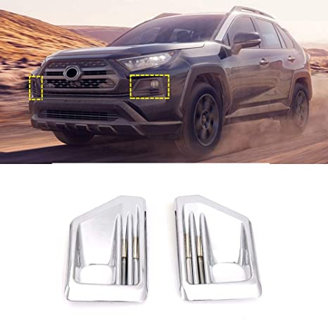 For Toyota RAV4 2019 ABS Chrome Front Fog Light Lamp Cover Trim 2pcs Auto Trim