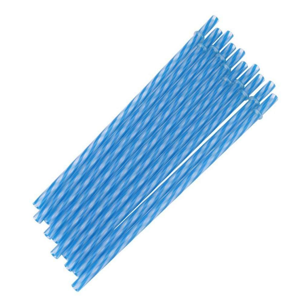 Zonster 10pcs pailles Stripe Bleu r/éutilisable en Plastique Dur Potable Parti Straws D/écoration