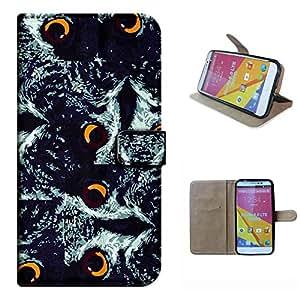 STUDIO 6.0 LTE Y650Q case, SoloShow(R) BLU STUDIO 6.0 LTE Y650Q 5.0 inch case Deluxe High Quality PU Leather Wallet Flip case, Personalized owl pattern (owl Eye)