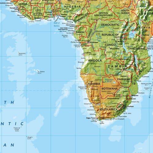 34.25 x 24.5 Laminated Wall Map Miller projection World Environmental