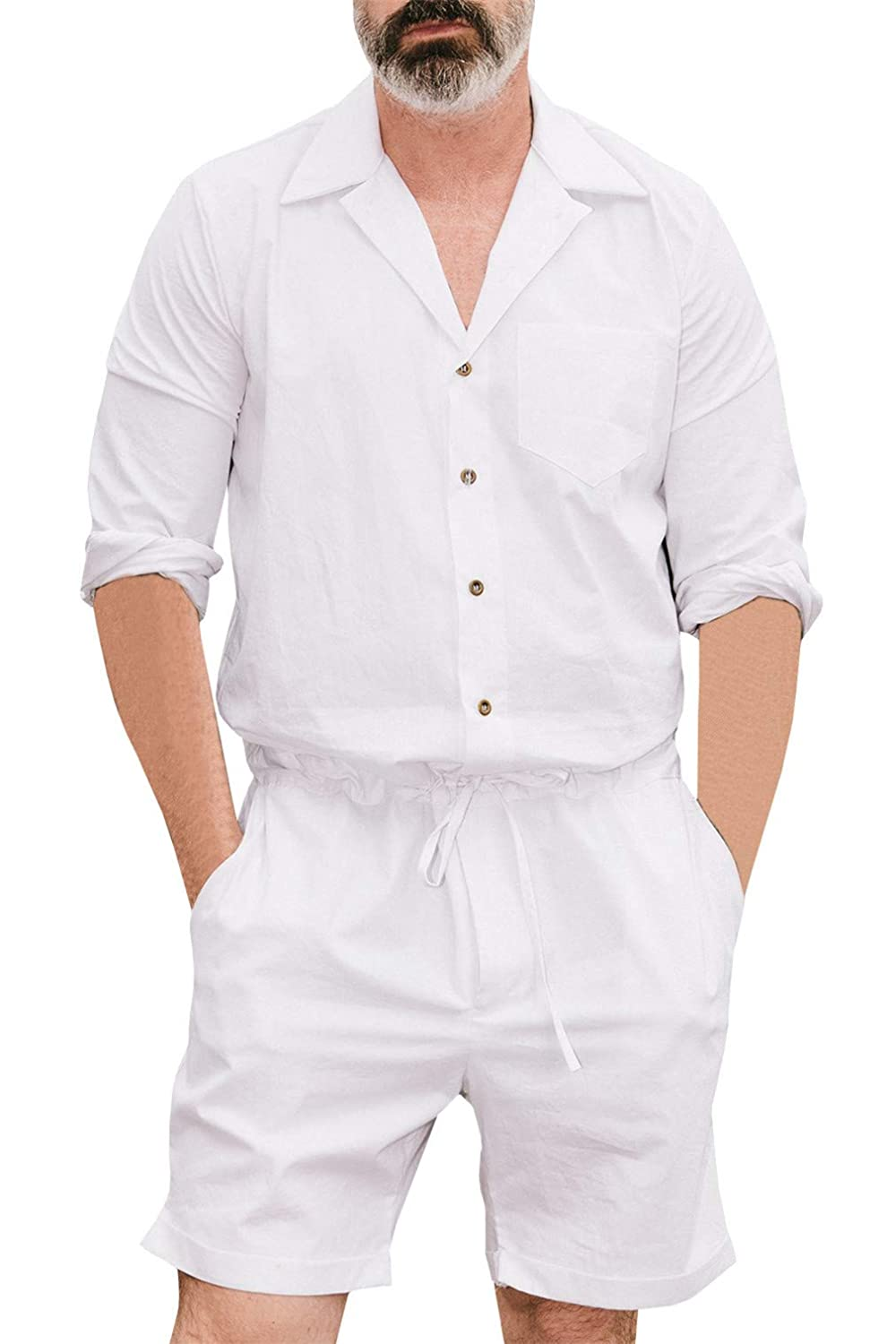 Men Short Long Sleeve Jumpsuit Casual Slim Fit Adjustable Waist Rompers Overall Meihuida