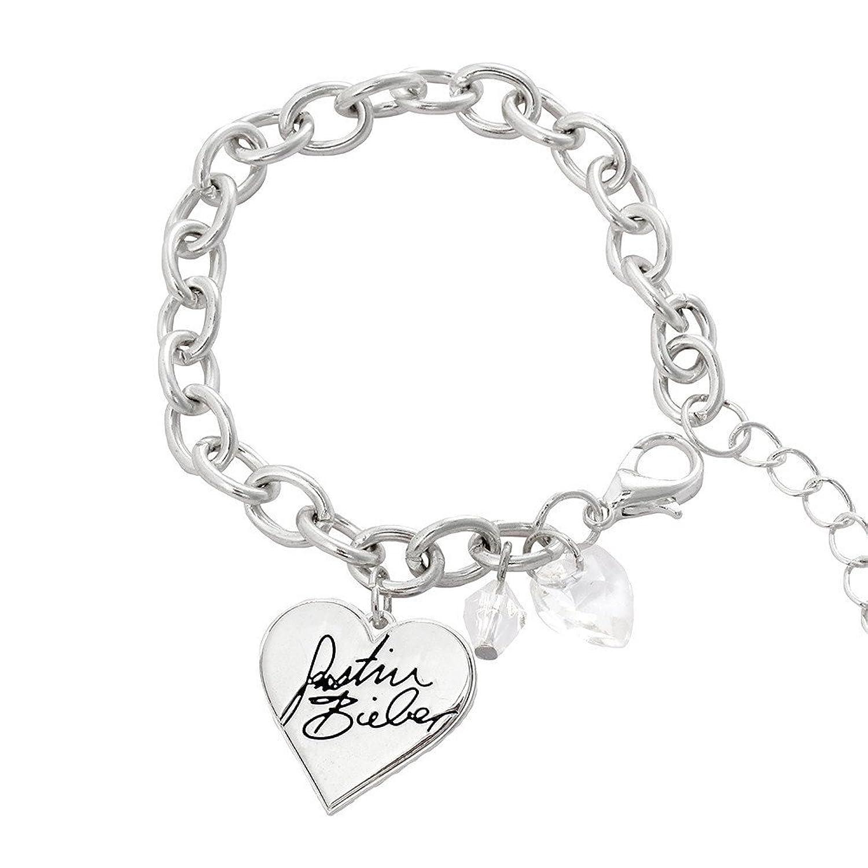 Amazon Justin Bieber Signature Heart Charm Bracelet Jewelry