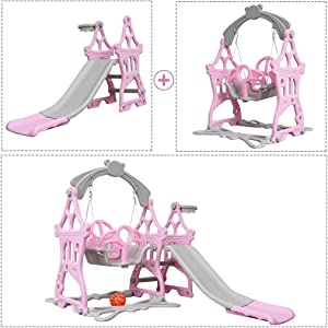 Toddler Slide and Swing Set, Erwazi 3 in 1 Freestanding Climber Slide Playset W/Basketball Hoop, Kids Playset Indoor Outdoor for Ages 1 to 9 Years Old (Pinkish Purple)