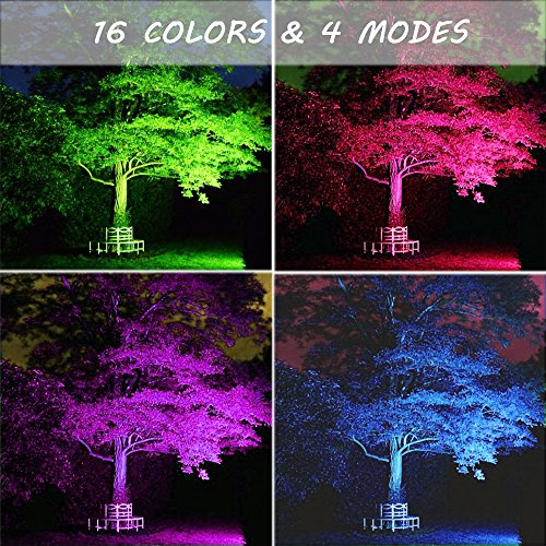 Ustellar 2 Pack 30W RGB LED Flood Lights, Outdoor Color Changing Floodlight with Remote Control, IP66 Waterproof 16 Colors 4 Modes Dimmable Wall Washer Light, Stage Lighting with US 3-Plug by Ustellar (Image #4)