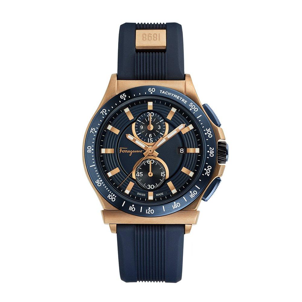Salvatore Ferragamo Men's 'FERRAGAMO 1898 SPORT' Swiss Quartz Stainless Steel and Rubber Casual Watch, Color:Blue (Model: FFJ020017)