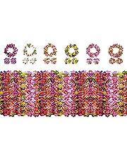 Yojoloin Hawaiianska blommor girlanger Leis Luau blommor för Hawaii festdekorationer tillbehör, med 12 armband 6 pannband och 6 halsband för festhalsband fotobås rekvisita gör-det-själv latexblommor (24 st)