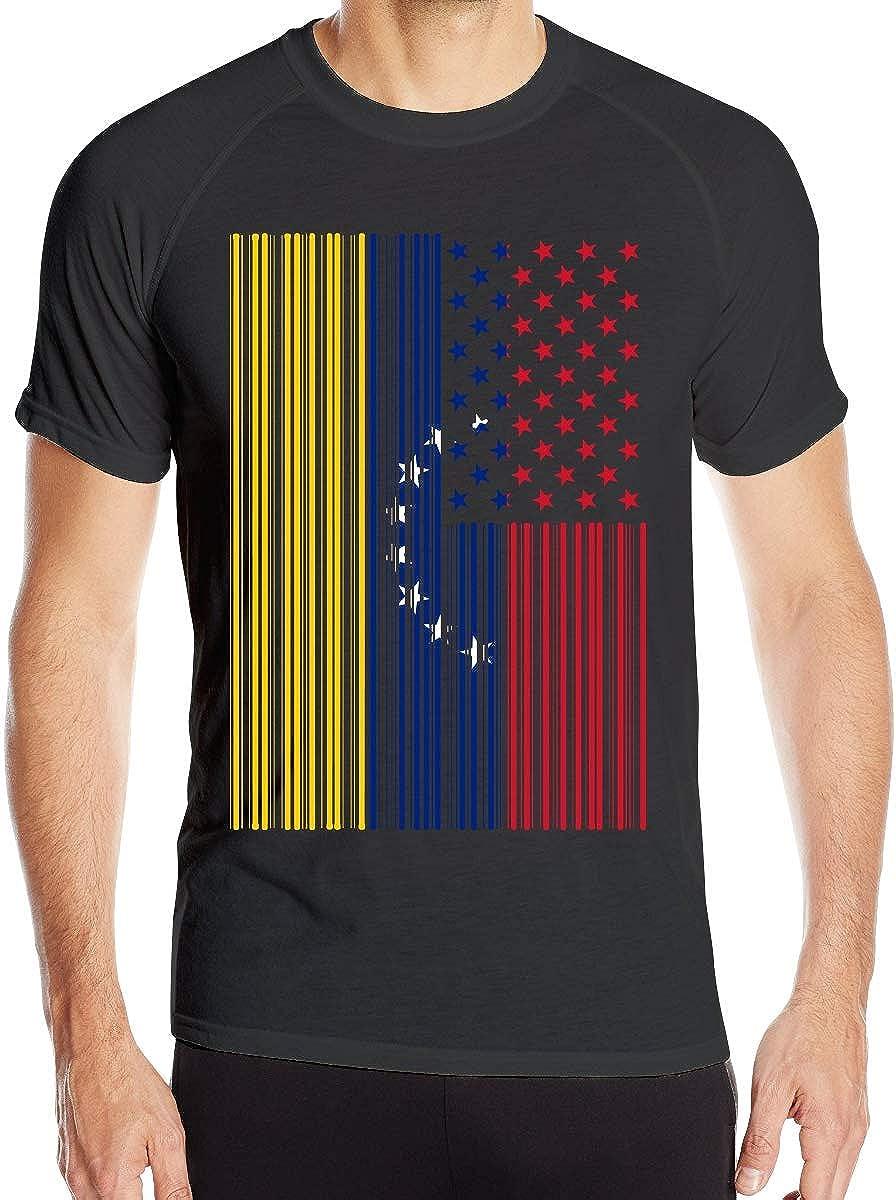 yting Bar Coded EE. UU. Bandera de Venezuela Camiseta de Manga Corta para Hombre Tops para Correr de Secado rápido: Amazon.es: Ropa y accesorios