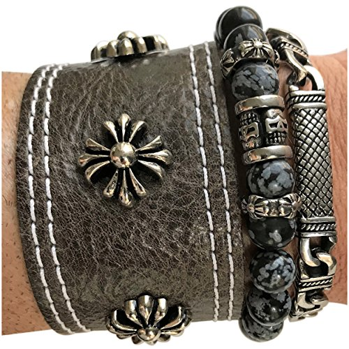 Grey Cross Stack - Vexed Soul Stack Iron Cross Grey Leather, Snowflake Stone Bead, and Polished Stainless Steel Link Chain
