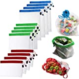 12Pcs Reusable Mesh Produce Bags Washable Eco Friendly for Grocery Shopping and Storage Fruit Vegetable and Toys Set, Four Size 12x17 in, 12x14 in and 12x8 in