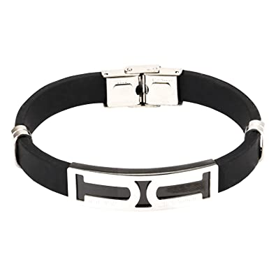 Stylepotion Smart Stylish Italian 316L Stainless Steel Quality Black  Silicone Resin Silver Rhodium Plated Matte Glossy 52e0b039375f