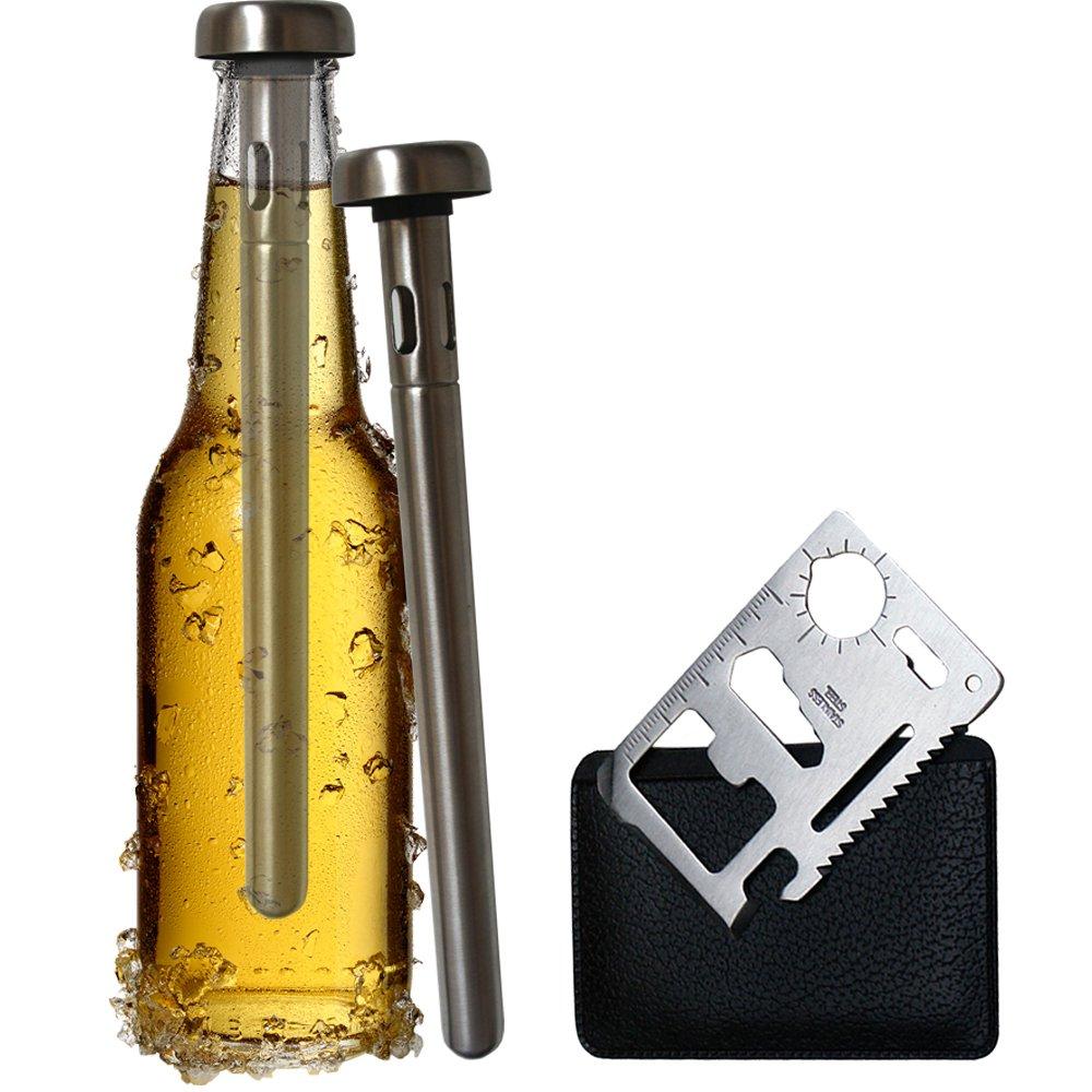 Original Regalo 2 Enfriadores de Botella Cerveza y Abridor Multifunción - Accesorio Utensilio Acero Inoxidable,