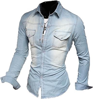 Juleya - Camisa vaquera para hombre de manga larga Slim Fit Vintage Denim Camisa de ocio 100% algodón XS-XXXL azul claro XL: Amazon.es: Ropa y accesorios
